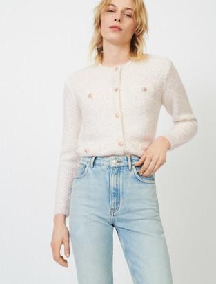 Maje Cream cardigan with lurex threads