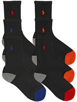 Ralph Lauren White Assorted 6 Pair Pack Athletic Multi Boy Heel/ Toe Crew Socks