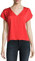 Milly V-Neck Seamed Stretch-Silk Blouse, Red