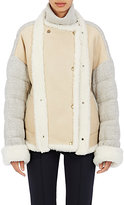 Chloé Women's Jersey-Back Shearling Double-Breasted Coat-NUDE