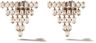 As 29 AS29 18kt rose gold Baguette 5 row triangle earrings