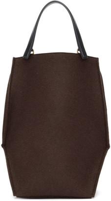 Jil Sander Brown Wool Edo Tote Bag