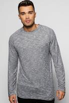 Boohoo Long Sleeve Slub T-Shirt With Curved Hem