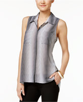 NY Collection Printed Button-Front Swing Blouse