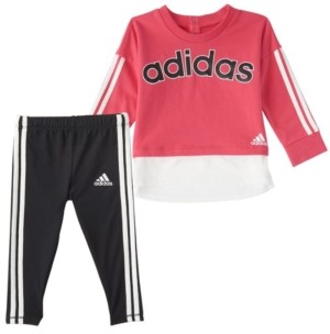 adidas Baby Girls Long Sleeve French Terry Pullover & Tight Set