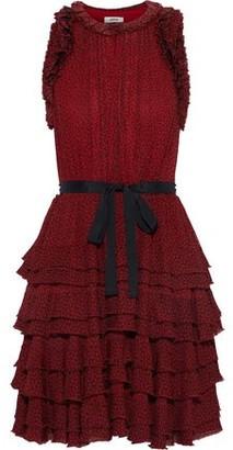 Jason Wu Belted Tiered Floral-print Georgette Mini Dress