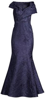 Aidan Mattox Portrait Jacquard Fit-&-Flare Gown