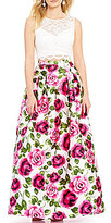 B. Darlin Lace Illusion-Yoke Top Floral-Print Skirt Two-Piece Ball Gown