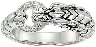 John Hardy Legends Naga Silver Pave (0.04CT) Dragon Head Ring with Blue Sapphire Eyes (Diamond) Ring