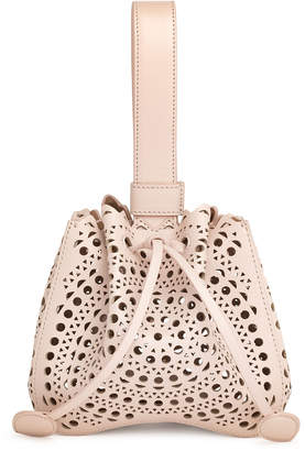 Alaia Rose-Marie Mini blush laser-cut bucket bag