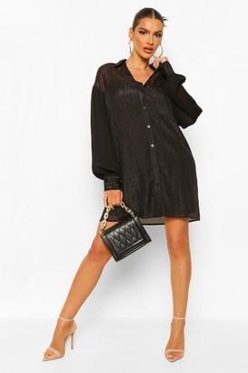 boohoo Lined Sheer Shirt Dress