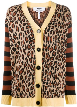 MSGM Leopard Print Striped Cardigan