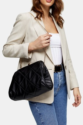 Topshop Womens Oversized Quilted Clutch Bag - Black