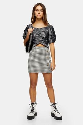 Topshop PETITE Check Button Mini Skirt