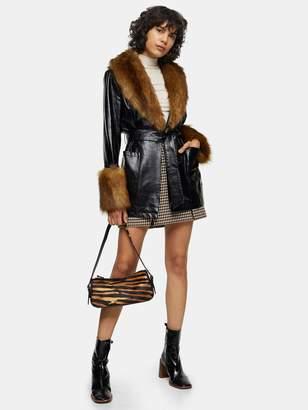 Topshop Marte Faux Fur Trim Coat - Black