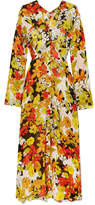 ATTICO Floral-print Silk-georgette Midi Dress - Yellow