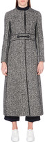 Max Mara Collarless herringbone-wool coat