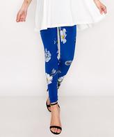 Blue & Cream Lbisse Women's Leggings Royal - Royal Floral Leggings - Women & Plus