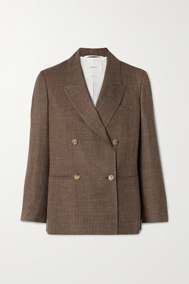 CASASOLA Net Sustain Organic Wool, Silk And Linen-blend Blazer - Brown
