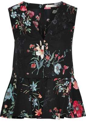 Rebecca Taylor Floral-print Cotton-poplin Peplum Top