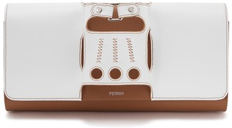 Perrin Paris Le Cabriolet white and brown leather clutch