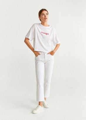 MANGO Embroidered logo T-shirt white - S - Women