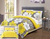Chic Home 7 Piece Daffodil Abstract Large Scale Floral Printed Queen Bed In a Bag Duvet Set Yellow Sheets Included