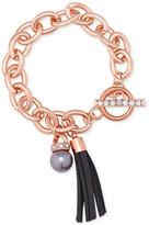 GUESS Rose Gold-Tone Pavé and Gray Imitation Pearl Tassel Bracelet