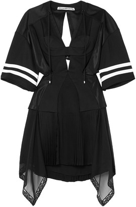 Alexander Wang Striped Cutout Pleated Chiffon And Mesh Mini Dress