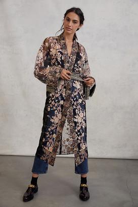 Byron Lars Sequined Kimono Duster Jacket By In Earnest by Byron Lars in Black Size M/L