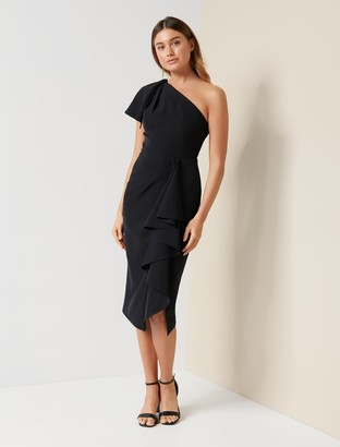 Forever New Bianca One-Shoulder Midi Dress - Black - 10