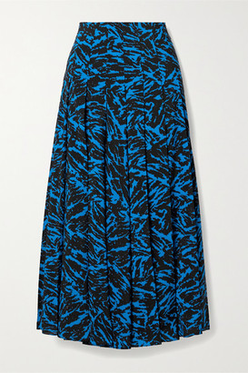 Jason Wu Pleated Zebra-print Crepe Midi Skirt - Cobalt blue
