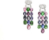 Tresor Collection - Multicolor Spinal, Tanzanite, Tsavorite Garnet and Diamond Earrings in 18k White Gold