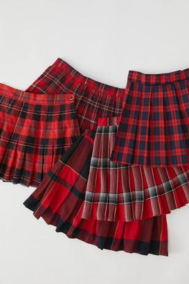 Urban Renewal Vintage Recycled Pleated Plaid Mini Skirt