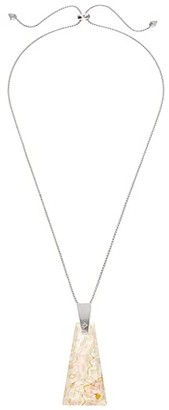 Kendra Scott Collins Long Pendant Necklace (Bright Silver/White Abalone) Necklace