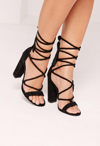 Missguided Lace Up Tassel Block Heel Sandals Black