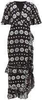Saloni Rose Metallic Silk-blend Jacquard Dress - Womens - Black Silver