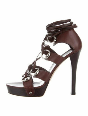 Gucci Leather Striped Gladiator Sandals Brown