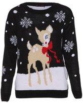 Girlzwalk ® Girls Christmas Novelty Baby Deer Print Knitted Jumper