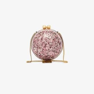 Marzook Pink and gold Sphere glitter ball clutch bag