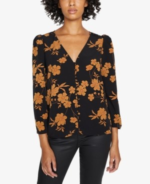 Sanctuary Make A Statement Printed Ruched-Sleeve Blouse