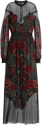 Just Cavalli Point D'esprit-paneled Shirred Printed Crepe Maxi Dress