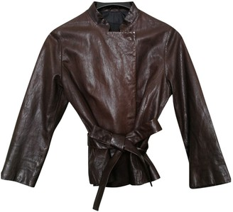Club Monaco Brown Leather Jacket for Women