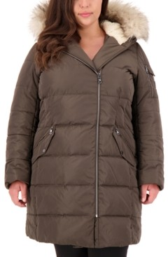 Vince Camuto Plus Size Faux-Fur-Trim Hooded Puffer Coat, Created for Macy's