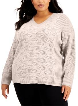 Calvin Klein Size Chain-Stitch Sweater