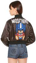 Moschino Embroidered Nylon Cropped Bomber Jacket