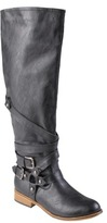Journee Collection Womens' Buckle Detail Round Toe Tall Boots