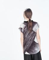 Zara Printed Funnel Neck T-Shirt