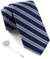 Ben Sherman Silk Stripe Tie & Lapel Pin Box Set