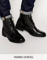 Asos Boots in Black Leather with Fleece Lining